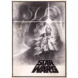 TOM JUNG FINAL CONCEPT DRAWING FOR STAR WARS: EPISODE IV – A NEW HOPE STYLE A 1-SHEET POSTER.
