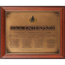 U.S.S. ENTERPRISE-D COMMISSIONING PLAQUE FROM STAR TREK VII: GENERATIONS.