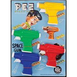 PEZ SPACE GUN DISPLAY WITH FOUR GUN DISPENSERS