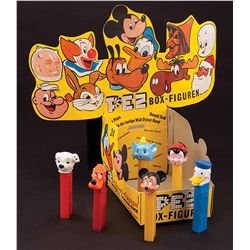1960S DISNEY STORE DISPLAY BOX WITH (6) PEZ DISPENSERS
