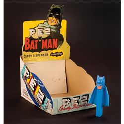 BATMAN PEZ DISPENSER WITH COWL, CAPE AND DISPLAY BOX