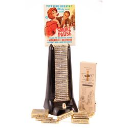 """1960S PEZ """"SMOKE PAUSE"""" DISPLAY WITH CANDY"""