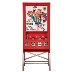 LARGE METAL POP OUT PEZ CANDY DISPENSER ON STAND
