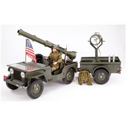 G.I. JOE OFFICIAL COMBAT JEEP WITH REAL SEARCHLIGHT AND COMBAT FIGURE