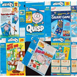 (6) VARIOUS QUISP CEREAL BOXES