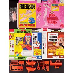 CEREAL BOXES WITH PREMIUM OFFERS AND PREMIUMS FROM DICK DASTARDLY, AND PINK PANTHER