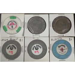 6 Old Original Gambling $1 Coins- Las Vegas + Atlantic