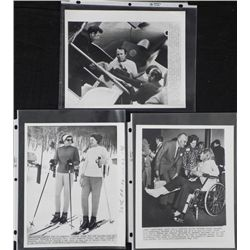 3 Original Press Photos Ethel Kennedy Skiing Accident
