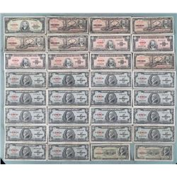 33 Pcs of Old Cuban Currency 1949-1960 Paper Money