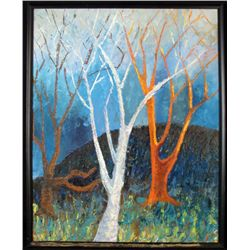 Original Landscape Painting 3 Trees Framed