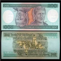 1981 Brazil 200 Crusados Crisp Uncirculated Note (CUR-05572)