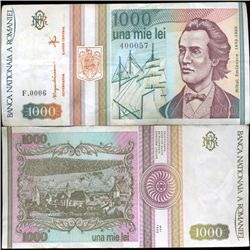 1991 Romania 1000 Lei Better Grade Note (CUR-06334)