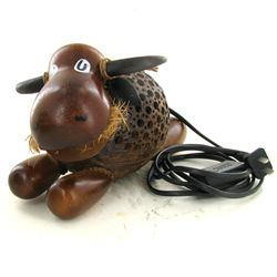 Coconut Shell Teak Bull Lamp (DEC-677)
