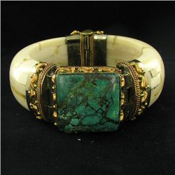 805ct Bone & Turquoise Bangle Bracelet (JEW-3851)