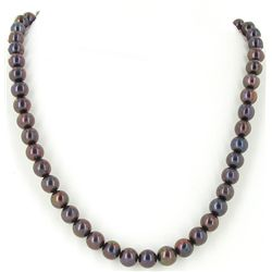 Black Peacock Saltwater Pearl Strand Necklace (JEW-2591)