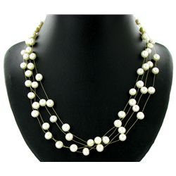 Black White Pearl 4 Strand Necklace (JEW-2569)