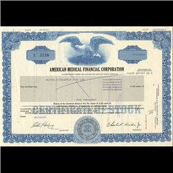 1980s Amer. Medical Fin'l. Stock Certificate Scarce (COI-3456)