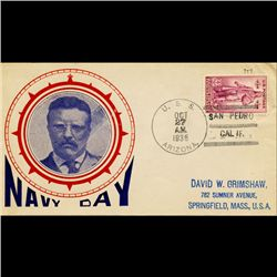 1936 US 3c Navy Day Cover USS Arizona RARE (STM-1677)