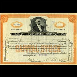1926 NY Central Railroad Stock Certificate pre-Depression (CUR-06631)