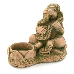 Handcrafted Cast Sandstone Ganesh Candle Holder (CLB-1036)