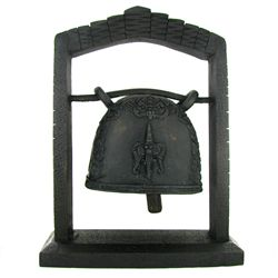 Vintage Thai Lg. Temple Bell on Elaborate Teak Stand (DEC-477)