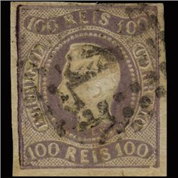 1867 RARE Portugal 100r Dark Lilac Used Stamp (STM-1339)