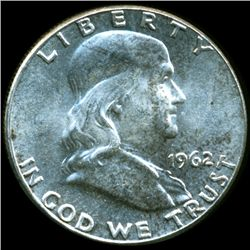 1962 Franklin Silver Half MS64/65 FBL Double Die Error (COI-10519)