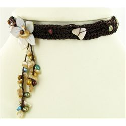 Crocheted Shell Choker Necklace (JEW-4308)