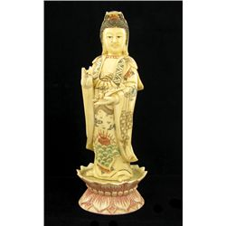 Chinese Handcarved Bone Kwan Yin on Lotus Base (CLB-701)