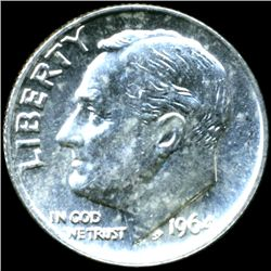 1964 FDR Silver 10c M64 Full Bands (COI-11901)