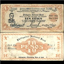 1944 Philippines WW2 10 Peso Guerrilla Note (COI-3884)