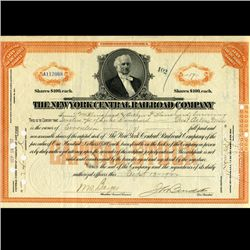 1922 NY Central Railroad Stock Certificate pre-Depression (CUR-06627)