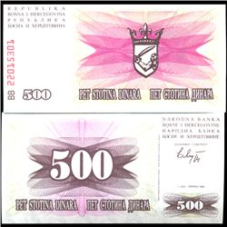 1992 Bosnia 500 Dinara Crisp Uncirculated Note (COI-3966)