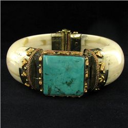 740ct Bone & Turquoise Bangle Bracelet (JEW-3849)