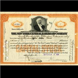 1920 NY Central Railroad Stock Certificate pre-Depression (CUR-06625)