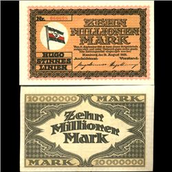 1923 Germany 10m Mark Pvt Steamship Note Crsp Unc (COI-3897)