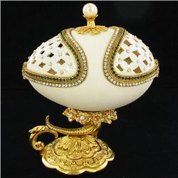 Fabrege Style Decorative Egg Ring Box (DEC-626)