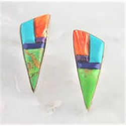 Genuine Sterling Silver Multi Color Inlay Post Earrings