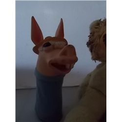 2 Vintage Toys  One Donkey Hand Puppet and one stuffed Lion