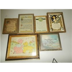 6 small Pictures in frames vintage