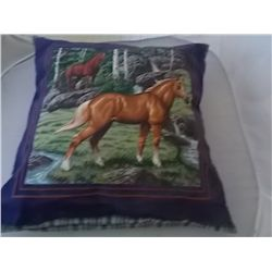 "Pillow - 14"" x 15"" Western design 2 horses"