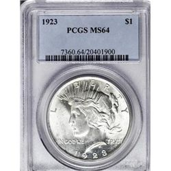 1923 PEACE SILVER DOLLAR MS 64 PCGS.