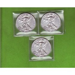 Three .999 Pure Silver American Eagles, Asstd Dates