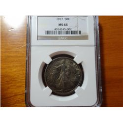 1917 WALKING LIBERTY HALF DOLLAR, NGC MS-64