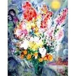 "Marc Chagall ""Original Bouquet"" Plate signed and numbered Ltd. Editionlithograph with coa. Size 33""x"