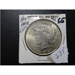 1934 SILVER PEACE DOLLAR, MS-65