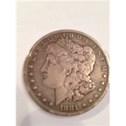 1881-CC KEY DATE MORGAN SILVER DOLLAR, VF