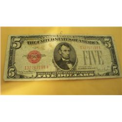 1928 F $5 RED SEAL NOTE