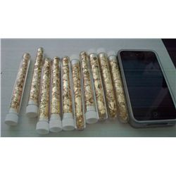 10 Large Vials of Gold Flakes, 4""