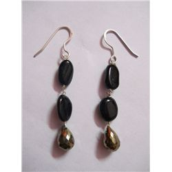 NATURAL 26.60 CTW BLACKONEX, SEMIPRECIOUS EARRING .925